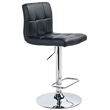 WHI Padded Seat Adjustable Chrome Stools with FauxLeather, Set Of 2