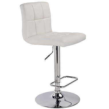 WHI Padded Seat Adjustable Chrome Stool with White Faux Leather, Set Of 2