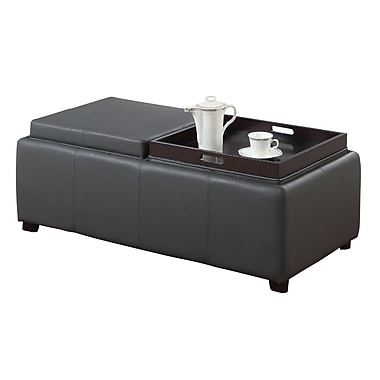 WHI Faux Leather Double Tray Ottoman, 46-3/4