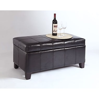 WHI Faux Leather Storage Ottoman, 36