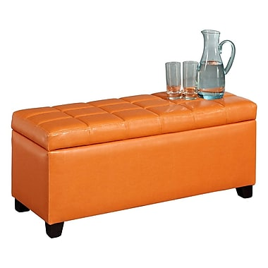 WHI Faux Leather Storage Ottoman, 35-1/2