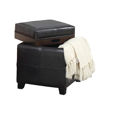 WHI Storage Ottoman With Reversible Tray Lid, Brown