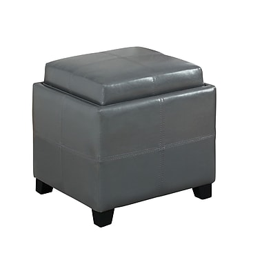 WHI Storage Ottoman With Reversible Tray Lid, Grey