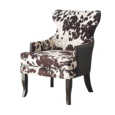 !nspire Faux Cow Hide Fabric Arm Chair, Brown/White