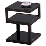 "!nspire 20-1/2"" Multi Tier Accent Table, Black/Glass"