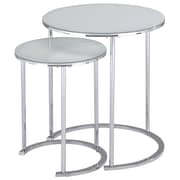 !nspire – Table d'appoint, ensemble de 2, blanc/chrome