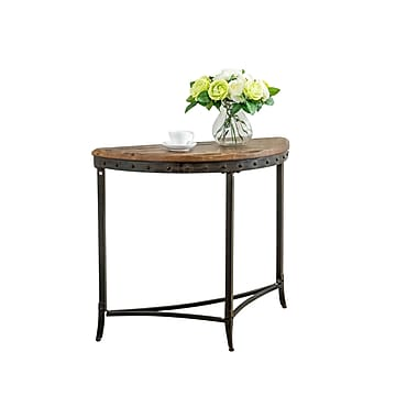 !nspire – Table console en demi-lune de 33 1/4 po de large, pin vieilli/fer