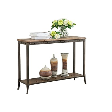 !nspire – Table console de 39 1/4 po de large, pin vieilli/fer