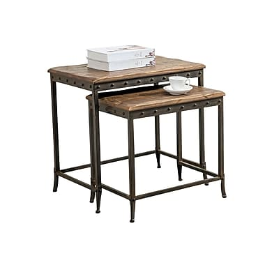 !nspire 2-Piece Nesting Table Set, Distressed Pine/Iron