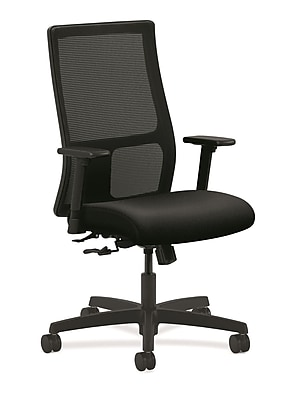 HON Ignition Fabric Computer and Desk Office Chair, Adjustable Arms, Black (HONIW101AB10)