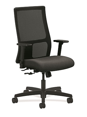 HON Ignition Fabric Computer and Desk Office Chair, Adjustable Arms, Gray (HONIW101AB12)