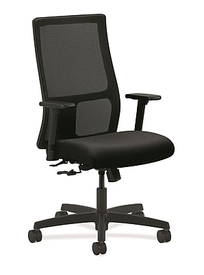 HON® Ignition® Mesh Mid-Back Office/Computer Chair, Adjustable Arms, Tectonic Black Fabric