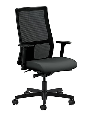 HON® HONIW103CU19 Ignition® Fabric Mid-Back Mesh Office Chair with Adjustable Arms, Iron Ore