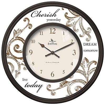 FirsTime 25617 Plastic Analog Cherish Wall Clock, Brown