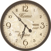 FirsTime 25656 Plastic Analog Wall Clock, Brown/Gold