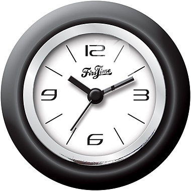 FirsTime 99520 Plastic Analog Wall Clock, Black/Chrome