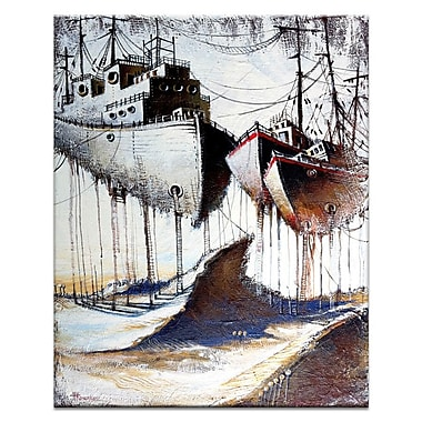 Artist Lane Moored to the Land by Olena Kosenko Framed Painting Print on Wrapped Canvas
