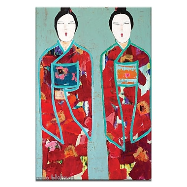 Artist Lane Red Geisha by Anna Blatman Framed Painting Print on Wrapped Canvas