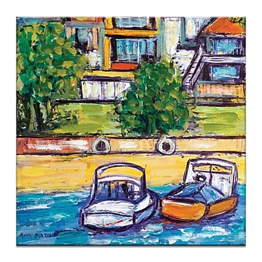 Artist Lane Boats by Anna Blatman Framed Painting Print on Wrapped Canvas; 40'' H x 40'' W x 1.5'' D