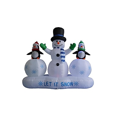 BZB Goods 6 ft. Snowman w/ Penguins Lightshow Decoration
