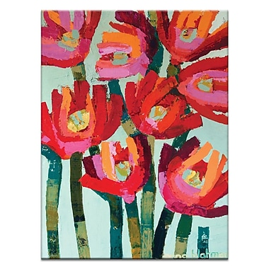 Artist Lane Red Flowers by Anna Blatman Framed Painting Print on Wrapped Canvas