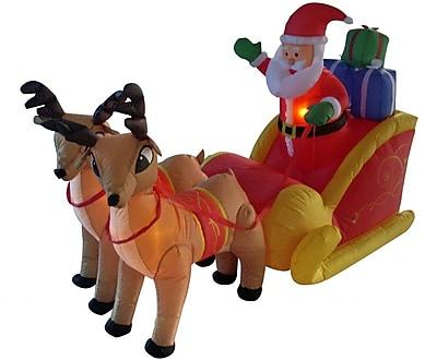 BZB Goods 6 ft. Long Santa Sleigh w/ Two Reindeer Decoration