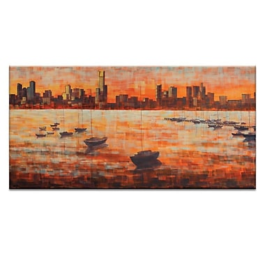 Artist Lane CBD Sunset From Williamstown by Jennifer Webb Framed Painting Print on Wrapped Canvas