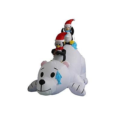 BZB Goods 6 ft. Long Polar Bear w/ Penguins Decoration