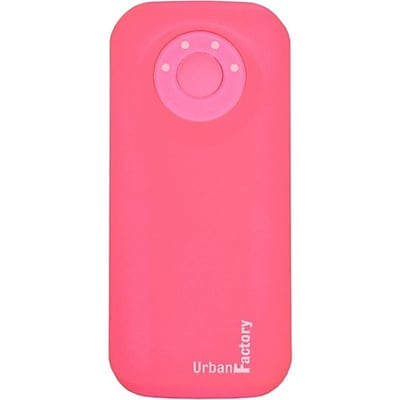 Urban Factory 5600 mAh Emergency USB 2.1 Pocket Battery For Smartphones, Pink