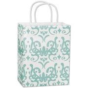 "Classicality 10 1/2"" x 8 1/4"" x 4 3/4"" Cub Mini Pack Shoppers Bag, Aqua On White"