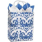 "Classicality 10 1/2"" x 8 1/4"" x 4 3/4"" Cub Mini Pack Shoppers Bag, Blue On White"