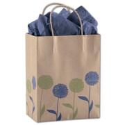 "Painted Posies 10 1/2"" x 8 1/4"" x 4 3/4"" Cub Shoppers Bag, Blue On Kraft"