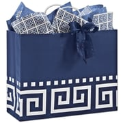 "Bags & Bows® Larissa 12 1/2"" x 16"" x 6"" Vogue Shoppers Bag, Blue On White, 100/CT"