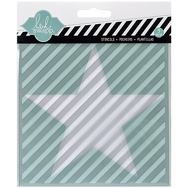 Heidi Swapp Mixed Media Stencil, Star/Cut Out Star/Diagonal Stripe, 5 1/2