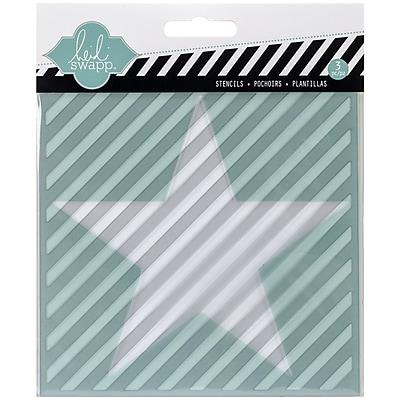 Heidi Swapp Mixed Media Stencil, Star/Cut Out Star/Diagonal Stripe, 5 1/2