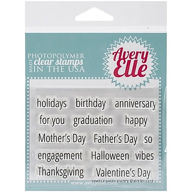 Avery Elle Photopolymer Clear Stamp Set, Simply Said Happy, 4