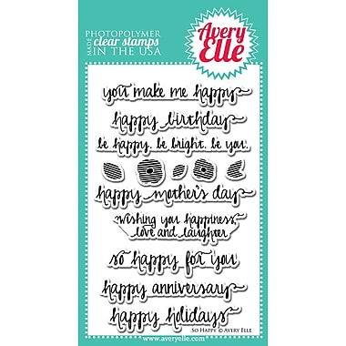 Avery Elle Photopolymer Clear Stamp Set, So Happy, 4