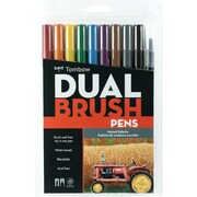 Tombow Dual Brush Pen Set, Muted, 10/Pack