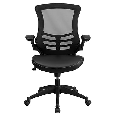 Flash Furniture BLX5MLEA Leather Soft Mid-Back Exec Chair with Flip Up Arms, Black
