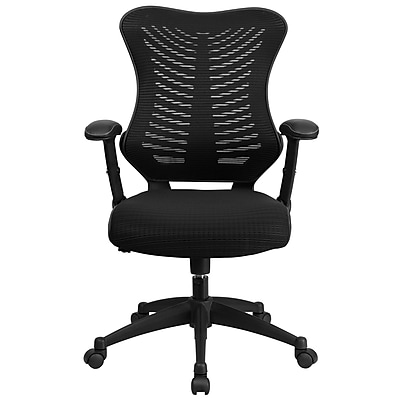 Flash Furniture BLZP806BK Mesh High-Back Task Chair with Adjustable Arms, Black