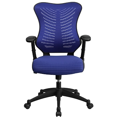 Flash Furniture BLZP806BL Mesh High-Back Task Chair with Adjustable Arms, Blue