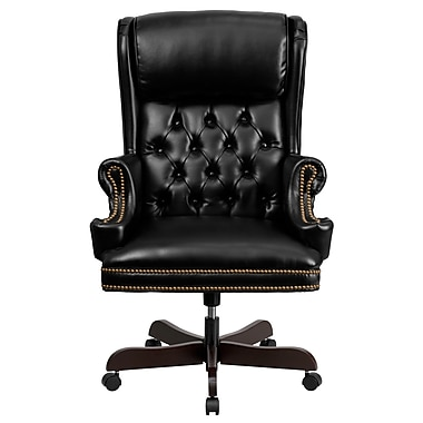 Flash Furniture CIJ600BK Leather High-Back Exec Chair with Fixed Arms, Black