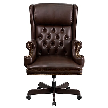Flash Furniture CIJ600BRN Leather High-Back Exec Chair with Fixed Arms, Brown