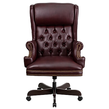 Flash Furniture CIJ600BY Leather High-Back Exec Chair with Fixed Arms, Burgundy
