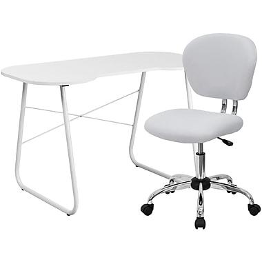 Flash Furniture Computer Desk with Task Chair, White (NAN10)
