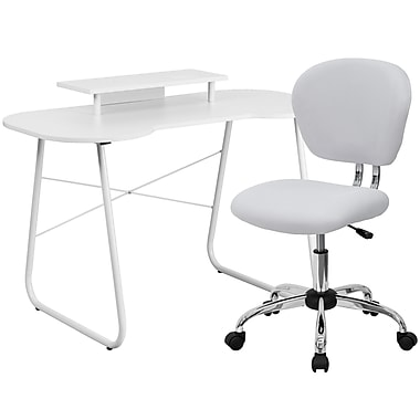 Flash Furniture Standard Computer/Writing Desk with Monitor Stand and Task Chair, White (NAN2)