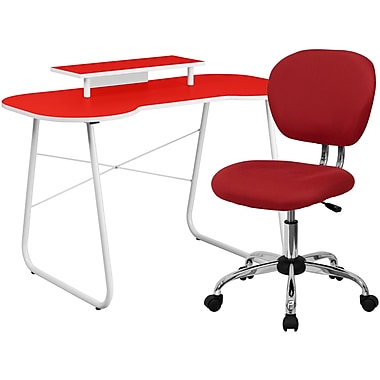 Flash Furniture Standard Computer/Writing Desk with Monitor Stand and Task Chair, Red (NAN8)