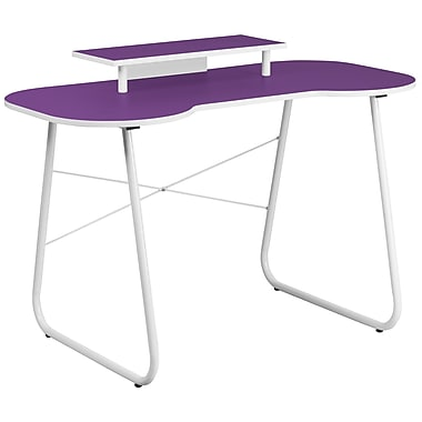 Flash Furniture Standard 47.25'' Rectangular Laminate Contemporary Computer Desk, Purple/White (NANJN2360MTPU)