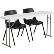 "Flash Furniture 60"" Folding Training Table with 2 Black Plastic Stack Chairs, Granite White (RB18602)"