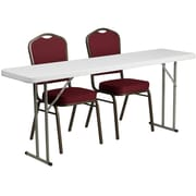 """Flash Furniture 72"""" Folding Training Table with 2 Crown Back Stack Chairs, Granite White (RB18721)"""